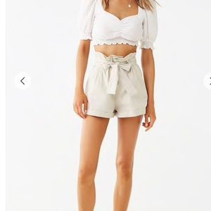 Pants - Belted Paperbag Shorts Size S